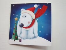 1 Pack of 10 Christmas Cards Cute POLAR BEAR with Christmas Tree & Present