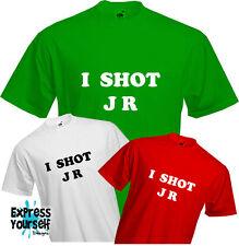 I SHOT JR- T Shirt, Dallas, Retro, 80's. Fancy Dress, Fun, Cool, Quality, NEW