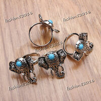 25-50pcs Wholesale Jewelry Mixed Lots Women's Turquoise Silver P Elephant Rings