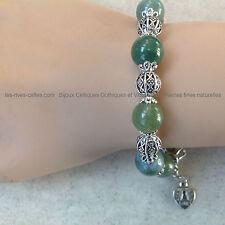 Bracelet pierres naturelles en jadéite verte
