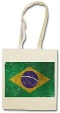 BRAZIL FLAG VINTAGE LOGO Hipster Shopping Cotton Bag - Brasil Brasilia Banner WM