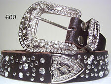 Chic Distresed Western Rodeo Rhinestone Crystal Bling Belt Size Medium