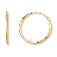 Endless Hoop Earrings 14K Yellow & White Gold 10mm-12mm-14mm-16mm-18mm-21mm-25mm