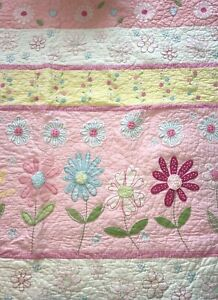 Pottery Barn Kids Twin Quilt & Sham Pink Daisy Garden Floral —2 Piece Set!