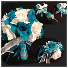 Round Silk Wedding Flower Bridal Bouquet Package Turquoise White Round