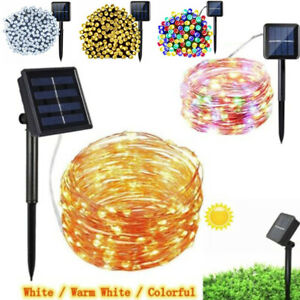 LED Solar String Lights Waterproof 10-30M Copper Wire Fairy Garden Party Outdoor