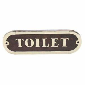 Door Sign Brass Noble Wood, Toilet, Maritimes Cabins