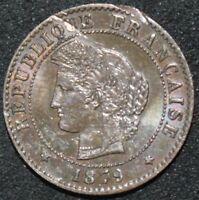 1879 A | France 1 Centime 'Possible Striking Error' | Bronze | Coins | KM Coins