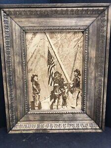 """Vintage Carved Wood Frame American Patriotic Silk Picture 10.5""""x 8.5"""""""