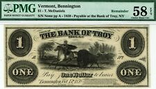 $1 Bank of Troy. Bennington Vermont. PMG 58 EPQ Choice About Uncirculated. Bison