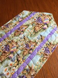 Handcrafted-Quilted Table Runner -Easter Eggs, Easter Bunny- Purple - New 2021