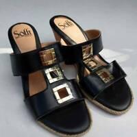Sofft Womens Slides Sandals Black Gold Buckles Cork Heel Wedge Slip On 6 EU 36 M