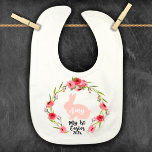 1st Easter Personalised Baby,Toddler Bib, Easter Bunny Floral Bandana , 2021