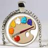 Color Palette Photo Cabochon Glass Tibet Silver Chain Pendant Necklace Jewelry