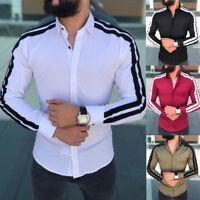 Mens V Neck Slim Fit Short Sleeve Muscle T-shirt Henley Shirts New 2019