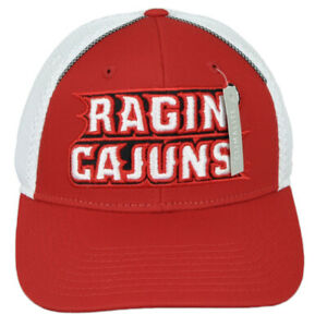 NCAA Adidas Louisiana Ragin Cajuns 347AZ Jersey Mesh Hat Cap Adjustable Red Whit