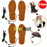 2 Pairs USB Electric Powered Heated Winter Insoles For Shoe Boots Keep Feet Warm