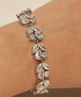 10K WHITE GOLD FINISH ROUND AND PEAR CUT 4CTW DIAMOND BRACELET