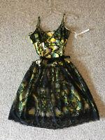 NWT TOM K NGUYEN 8 SILK AMAZING RARE! Boho Poleci Black Yellow Dress Floral Lace