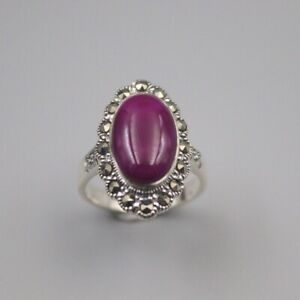 Solid 925 Sterling Silver 21mm Oval Purple Sugilite Woman's Ring Size 6-12