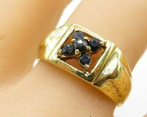 925 Sterling Silver - Five Prong Mini Sapphire Gold Plated Ring Sz 9.5 - R6198
