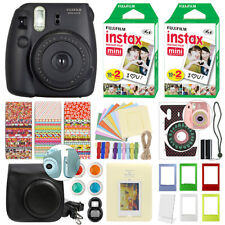 Fuji Instax Mini 8 Fujifilm Instant Film Camera Black + 40 Film Deluxe Bundle