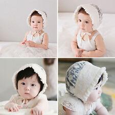 Infant Newborn Baby Summer Bonnet Flower Lace Hat White Cap 3-48 Months Lovely
