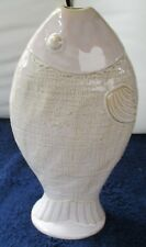 "NANTUCKET HOME IVORY COLOR CERAMIC FISH VASE 12.25"" TALL"