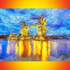 NIK TOD RECREATED FROM ORIGINAL PAINTING ART VAN GOGH STYLE TOWER BRIDGE LONDON