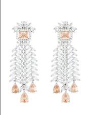 Yellow Orange Emerald & Pear Cut Citrine & Pretty White CZ Leaf Dangle Earrings
