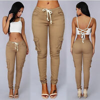 Female High Waist Sweatpants With Pockets Stylish Soft Drawstring Trousers BS