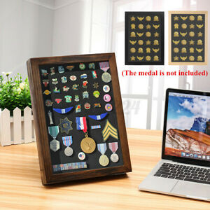 UK Pin Medal Wood Display Case Storage Frame Box For Wall Hanging Desktop