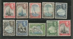 BERMUDA GEORGE VI 1938  GENERALLY FINE USED SET TO 1/- WITH SCARCER 2d SEPIA