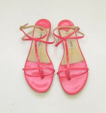 Jimmy Choo Neon Pink Patent Leather Flat Sandals