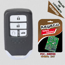 Replacement Smart Remote Key Fob 4 Button 433MHz ID47 for Honda Civic 2014-2017