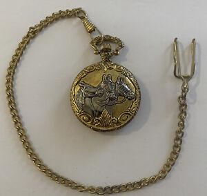 Pocket Watch Quartz Gold with Silver Horses Vintage #12