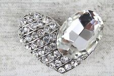 Large Heart Clear Encrusted Diamante Brooch Bouquet Wedding Cakes