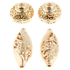 4Pcs Gold Plated Metal Spacer Loose Beads Filigree Hollow Round Ball Oval