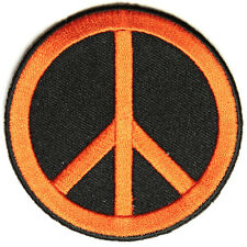 Embroidered CND Symbol Peace Orange on Black Sew or Iron on Patch Biker Patch