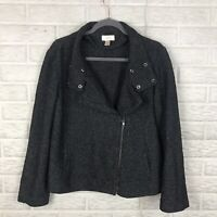 LOFT Women's Asymmetrical Zip Moto Jacket Large Tweed Black Pockets Knit Casual