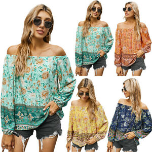 Sexy Costume Pullover Long-sleeved T-shirt Women Floral Print Off Shoulder Tops