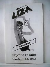 LIZA IN CONCERT Playbill LIZA MINNELLI Tour MAJESTIC THEATRE Dallas TX 1983