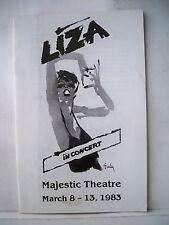 LIZA IN CONCERT Playbill LIZA MINNELLI Tour MAJESTIC THEATRE Dallas TX 1983