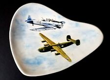 VINTAGE 50'S CERAMIC AIRPLANES COFFEE TABLE BOWL Lrg Heavy