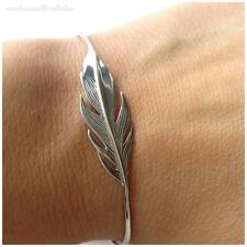 BRACELET JONC PLUME ARGENT 925/000 CERTIFIE - TAILLE REGLABLE  - FEATHER BANGLE