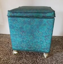 Vintage Brocade Look Sewing Storage Box Ottoman Foot Stool Casters.