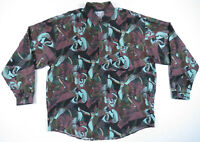 NWOT Vintage 80s 90s Silk Abstract Geometric Print Long Sleeve Button Up Shirt