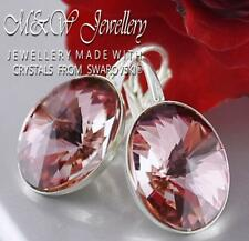 925 Silver Earrings Crystals from Swarovski® 14mm OVAL RIVOLI - Antique Pink F