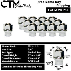 20Pc CHROME M12x1.5 OPEN END EXTENDED THREAD ET LUG NUT FIT CHEVY CADILLAC&MORE