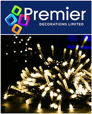 Premier 720 WARM WHITE LED Multi Action Timer Christmas Tree Lights Green Cable